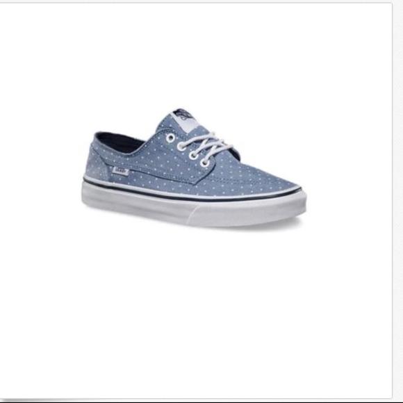 5b15a3b590ae Vans Chambray Dots Blue Brigata Slim Shoes🌹